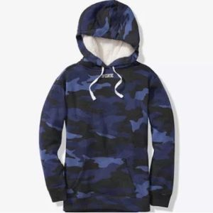 PINK Sherpa Lined Hood Campus Pullover Blue Camo